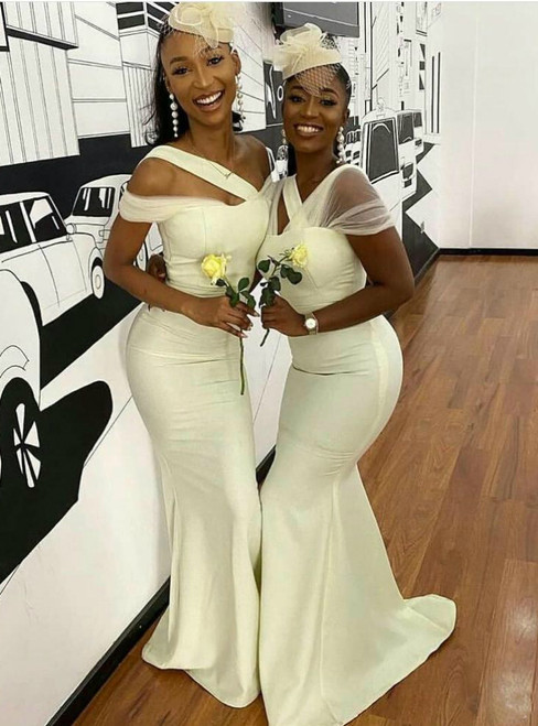 Purchase Your Favorite Ivory White Mermaid Satin Off the Shoulder Bridesmaid Dress