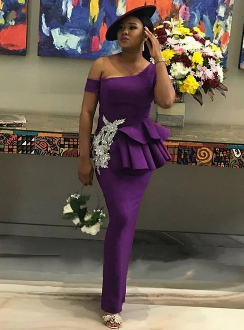 We Provide Purple Mermaid Satin One Shoulder Appliques Bridesmaid Dress