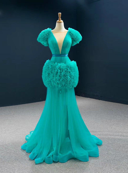Find Your Dress For Prom! Green Mermaid Tulle Reffuls Pleats Long Prom Dress