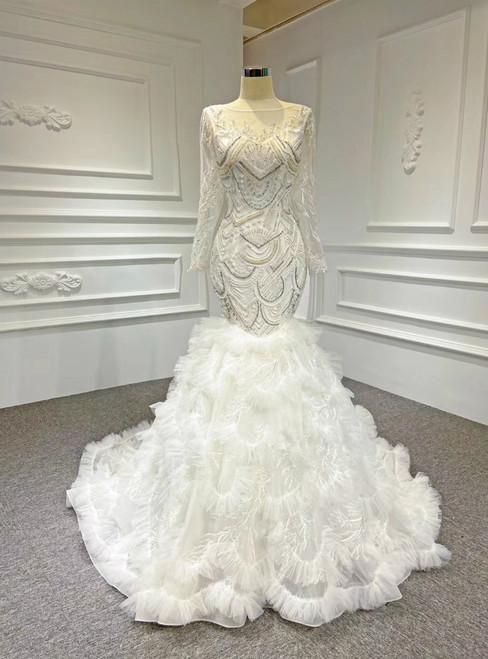 Best For You White Mermaid Tulle Beading Long Sleeve Wedding Dress