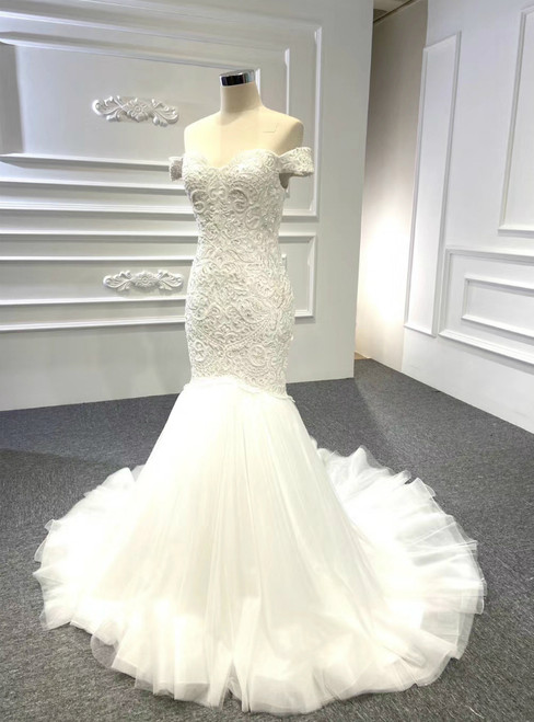 Is Now Available. White Mermaid Yulle Off the Shoulder Embroidery Beading Wedding Dress