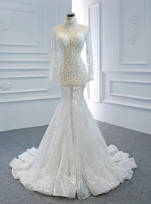 Shops Around The World White Mermaid Tulle Long Sleeve High Neck Baeading Wedding Dress