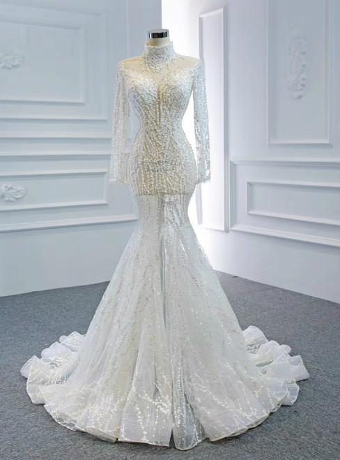 Shops Around The World White Mermaid Tulle Long Sleeve High Neck Baeading Wedding Dress