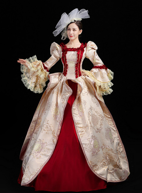 Is a Rite Of Passage Champagne And Burgundy Long Sleeve Lace Drama Show Vintage Gown Dress