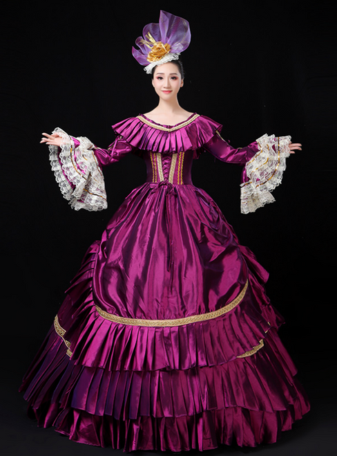 For The Very Best In Unique Or Custom. Purple Ball Gown Satin Long Sleeve Pleats Drama Show Vintage Gown Dress