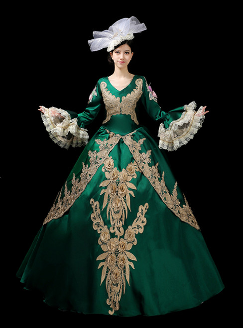 Just Be The One For You Green Ball Gown Satin V-neck Appliques Long Sleeve Drama Show Vintage Gown Dress