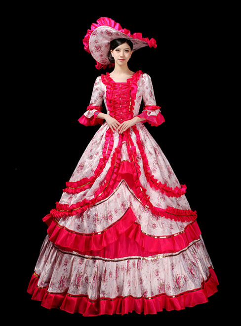 The Largest Variety Of Styles Fuchsia Ball Gown Print 3/4 Sleeve Drama Show Vintage Gown Dress