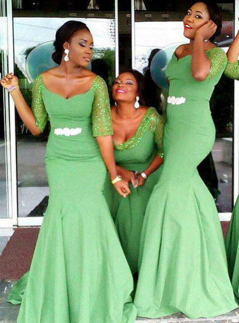 Off the shoulder Bridesmaid Dress with Beaded Belt Clover Green Mermaid