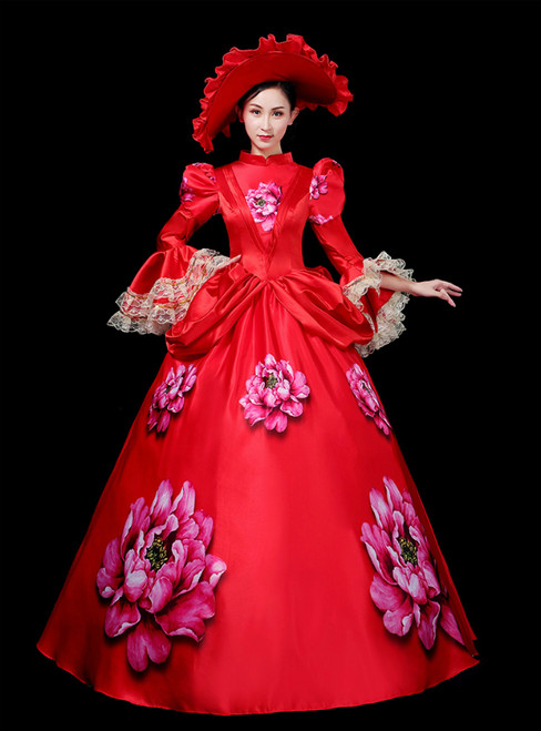 To Fit Your Style Red Ball Gown Satin High Neck Long Sleeve Print Drama Show Vintage Gown Dress