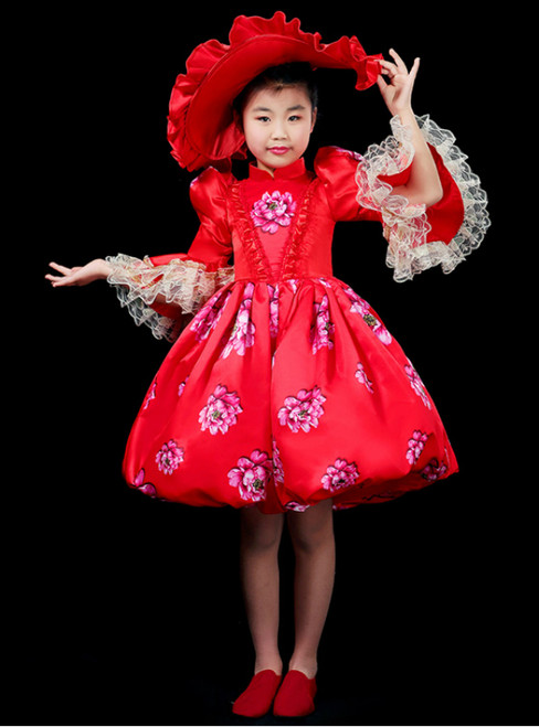 Fit Your Body Type Red Ball Gown Satin High Neck Long Sleeve Girl Print Drama Show Vintage Gown Dress