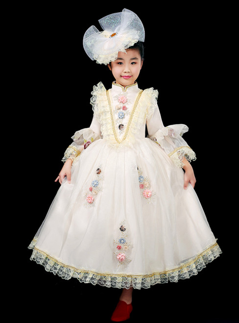 Fit Your Fashion Sense Ivory Ball Gown Tulle Long Sleeve Appliques Drama Show Vintage Gown Dress
