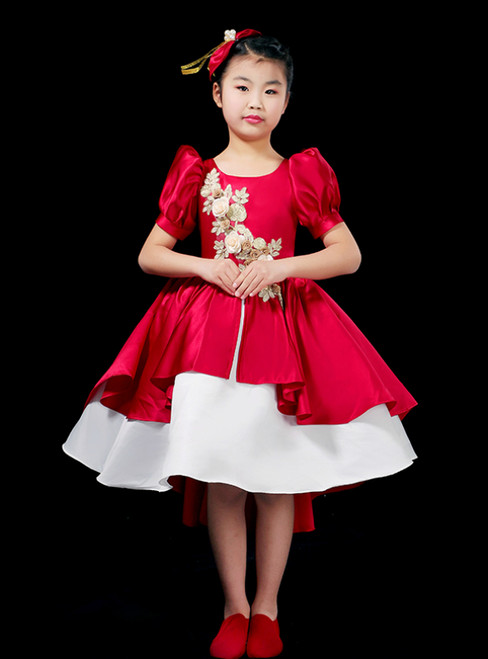 Come In a Wide Variety Of On-Trend Styles, Red Ball Gown Satin Puff Sleeve Appliques Girl Drama Show Vintage Gown Dress