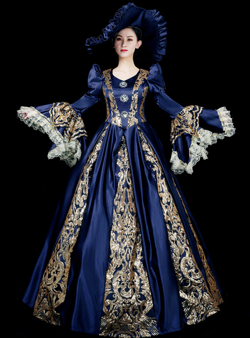 Will Be Available For Purchase Blue Ball Gown Satin Long Sleeve Lace Sequins Appliques Drama Show Vintage Gown Dress