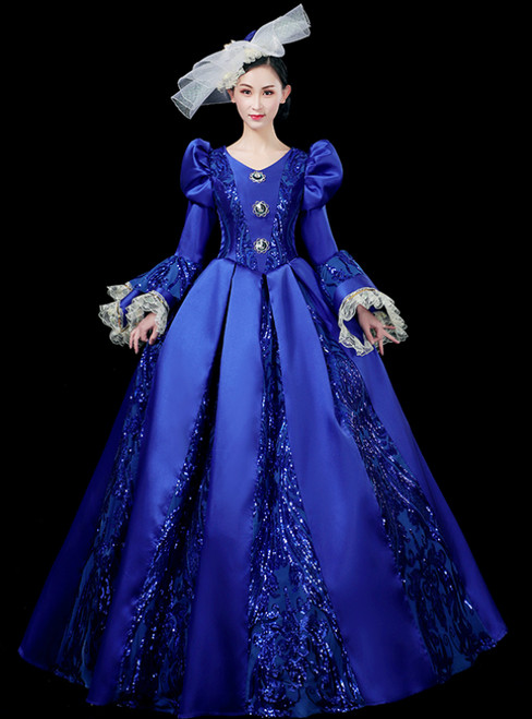 For You Next Prom Dance Blue Ball Gown Satin Long Sleeve Seuqins Appliques Drama Show Vintage Gown Dress