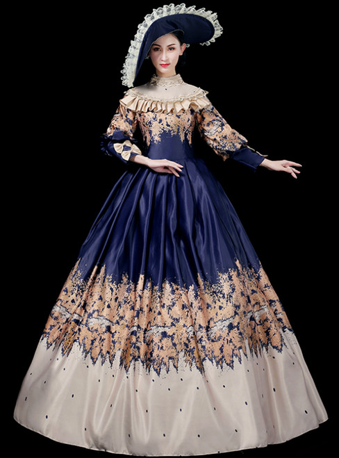 With 28 Colors Available. Blue Ball Gown Satin High Neck Print Long Sleeve Drama Show Vintage Gown Dress