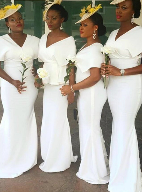 Looking For Cute And Stylish White Mermaid Satin V-neck Cap Sleeve Bridesmaid Dress