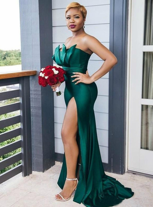 Shop For The Perfect Green Mermaid Satin Strapless Pleats Bridesmaid Dress With Side Split