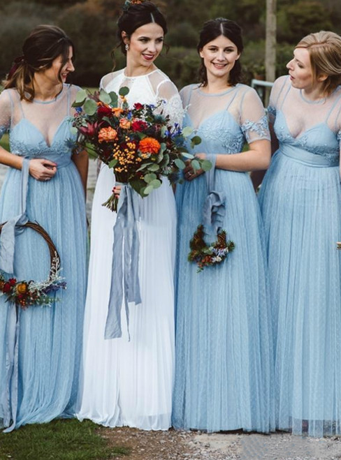 Shop Online Light Sky Blue Tulle Short Sleeve Appliques Bridesmaid Dress