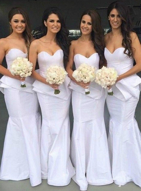 With Kemedress, You'Ll Find White Mermaid Satin Sweetheart Long Bridesmaid Dress