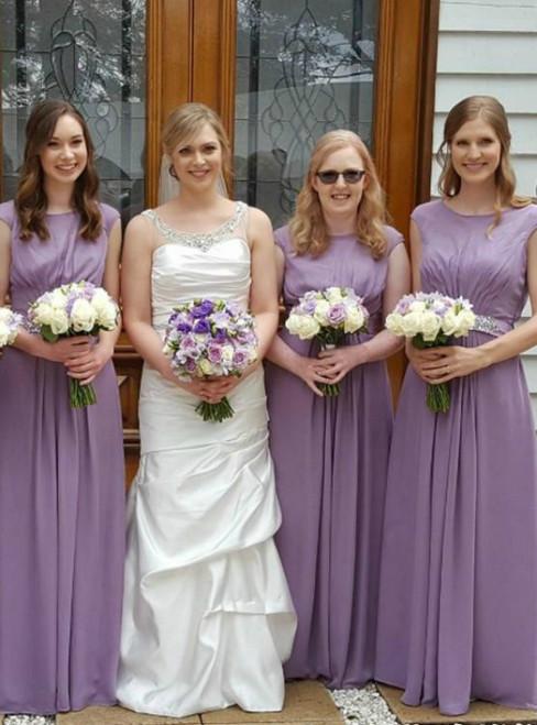 Shop An Amazing Selection Of A-Line Purple Chiffon Cap Sleeve Pleats Bridesmaid Dress