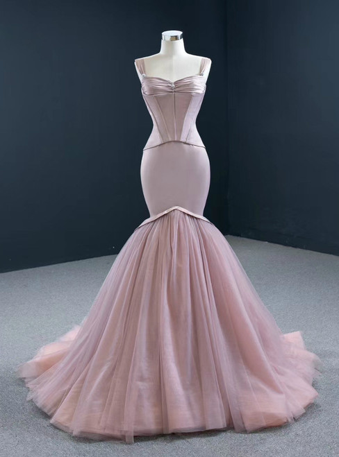 Shop An Amazing Selection Of Sexy Pink Mermaid Satin Tulle Straps Pleats Prom Dress