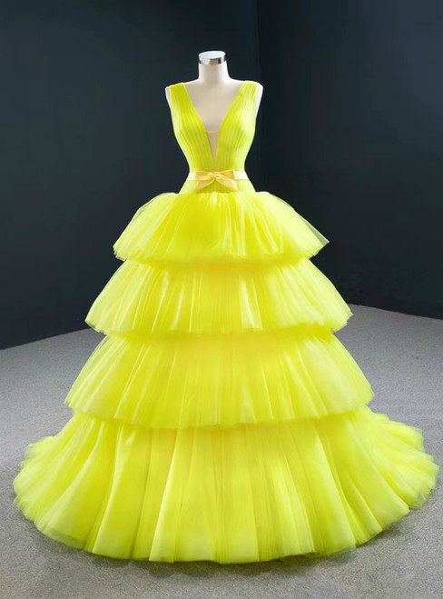 Shop 2020 Yellow Ball Gown Tulle Deep V-neck Pleats Prom Dress With Bow
