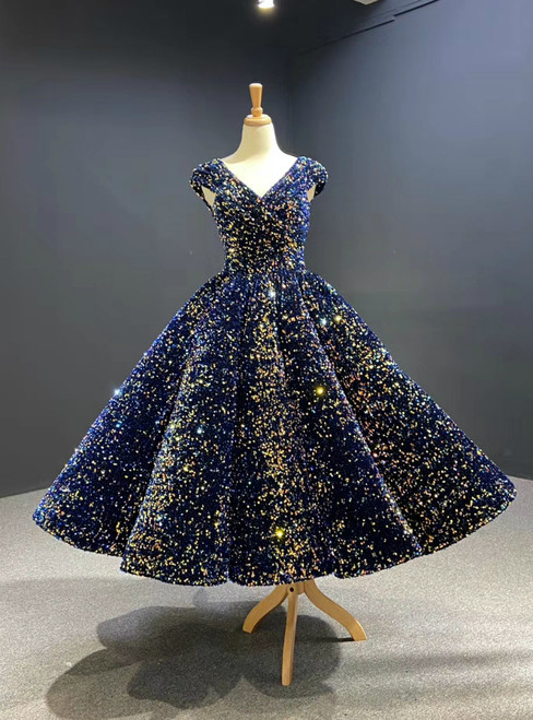 Free Shipping Blue Ball Gown Sequins V-neck Cap Sleeve Prom Dress