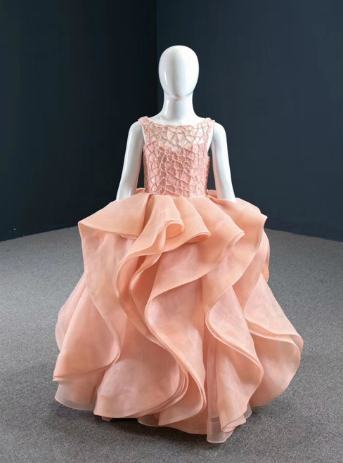 Take Center Stage In Pink Ball Gown Organza Beading Sleeveless Flower Girl Dress