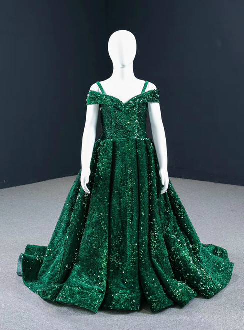 You'Ll Want Green Ball Gown Sequins Off the Shoulder Flower Girl Dress