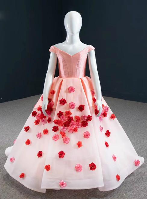 Biggest Sale Pink Ball Gown Satin Off the Shoulder Appliques Flower Girl Dress