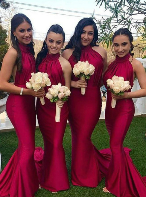 Find Plenty Of Red Mermaid Satin Halter Backless Pleats Bridesmaid Dress