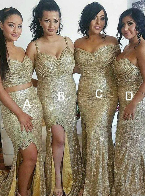 All Sizes Gold Mermaid Sequins Mixed Styles Pleats Bridesmaid Dress