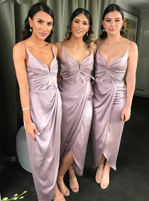 Custom Tailored Pink Satin Spaghetti Straps Ankle Length Pleats Bridesmaid Dress