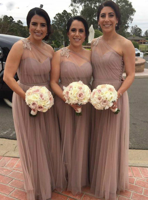 High Quality A-Line Pink Tulle One Shoulder Appliques Bridesmaid Dress