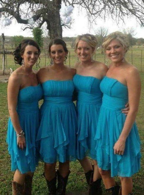 1000+ Styles Blue Chiffon Strapless Pleats Knee Length Bridesmaid Dress