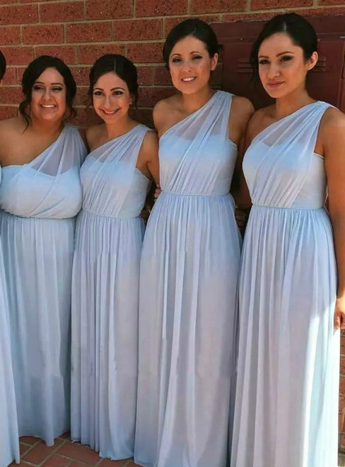 Low Price Guarantee A-Line Blue Chiffon One Shoulder Pleats Bridesmaid Dress