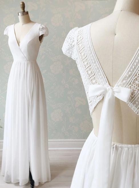 Shop Sexy A-Line White Chiffon V-neck Cap Sleeve Wedding Dress