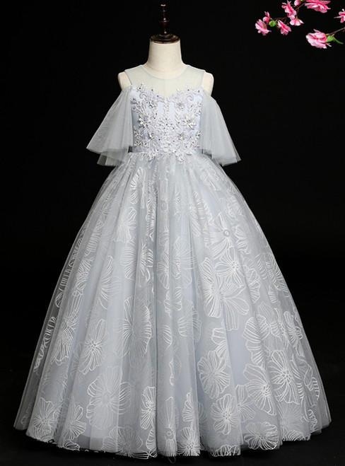 Whether You Are Looking For Fashion Gray Blue Ball Gown Tulle Cold Shoulder Flower Girl Dress