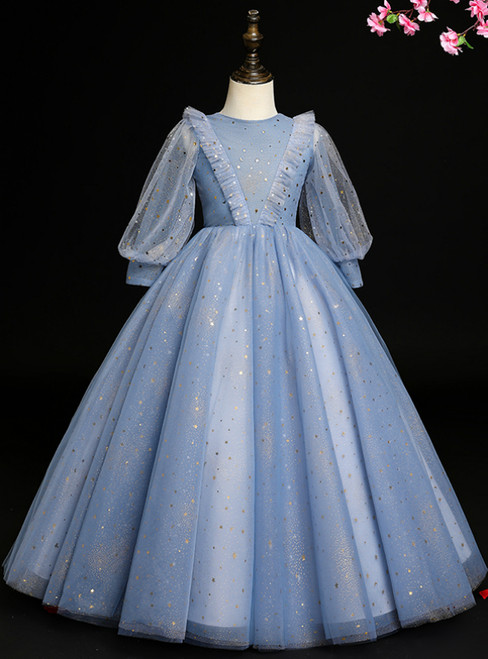 Be The Prom Queen Blue Ball Gown Tulle Long Sleeve Sequins Flower Girl Dress