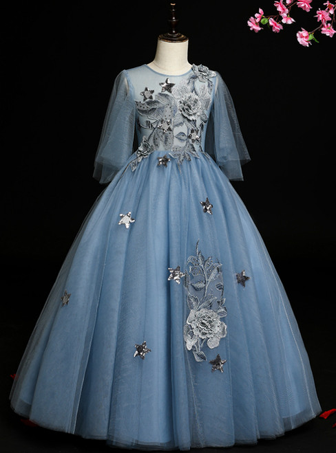 It's Prom Season Blue Ball Gown Tulle Appliques Sequins Flower Girl Dress