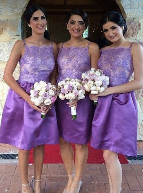 Purple Illusion Bridesmaid Dress in Knee Length  Simple Square Neck Short Bridesmaid Dress