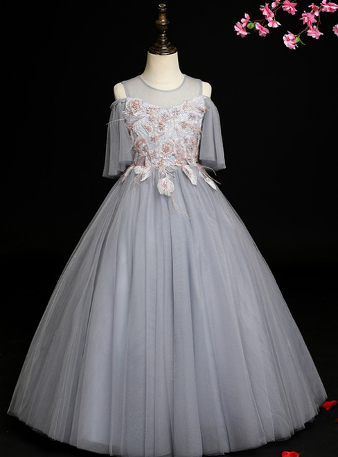 Browse Our Lovely Gray Ball Gown Tulle Appliques Long Flower Girl Dress