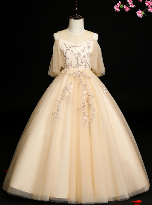 Don't Miss The Amazing & Affordable Champagne Ball Gown Tulle Appliques Flower Girl Dress