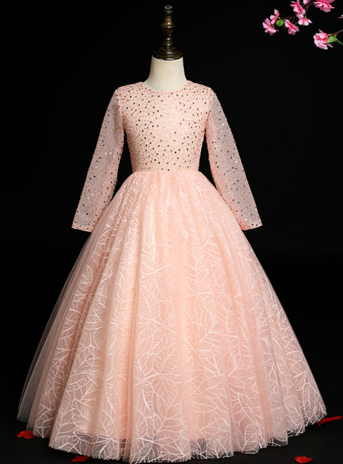 We Provide Pink Ball Gown Tulle Long Sleeve Beading Seuqins Flower Girl Dress