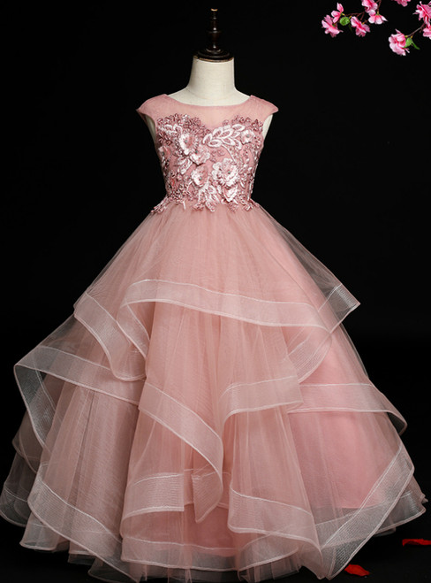 Hottest Items Pink Ball Gown Tulle Appliques Cap Sleeve Flower Girl Dress