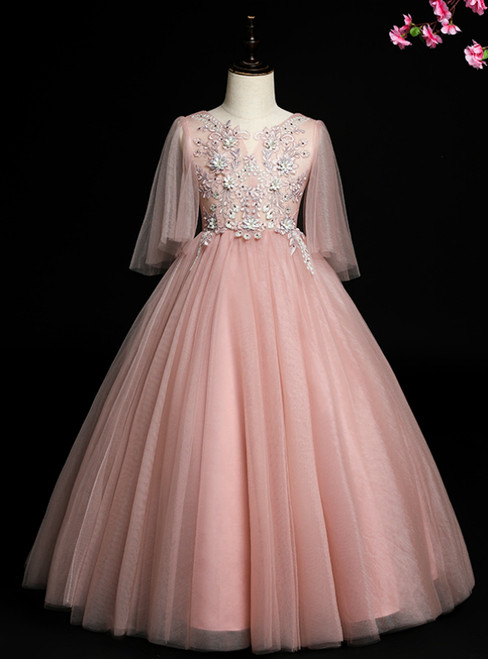 Shop This Selection Of Pink Ball Gown Tulle Appliques Beaidng Flower Girl Dress