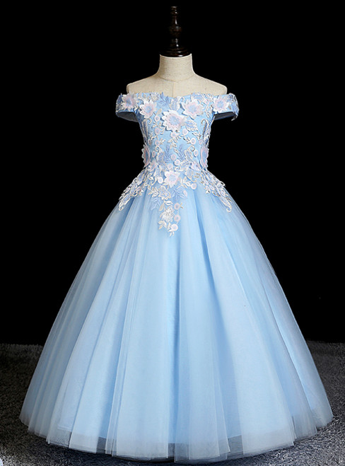 Stand Out With Blue Ball Gown Tulle Off the Shoulder Appliques Flower Girl Dress