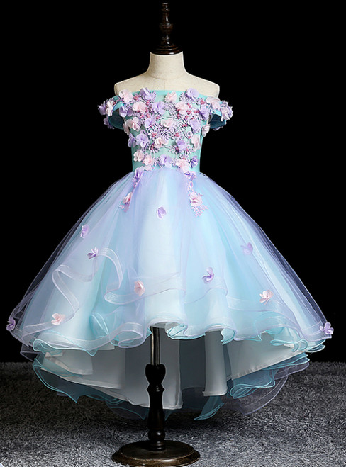 Wide Range Of Blue Ball Gown Hi Lo Appliques Off the Shoulder Flower Girl Dress