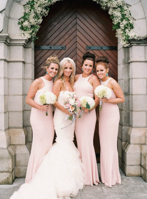 Blush Pink Bridesmaid Dresses High Neck Bridesmaids Dress  Long Bridesmaid Dress