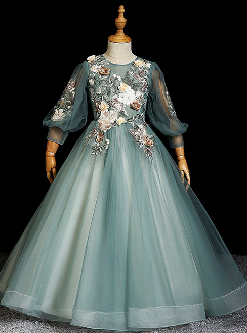 Affordable Green Ball Gown Tulle Long Sleeve Embroidery Appliques Flower Girl Dress